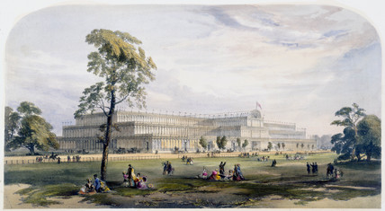 General view of the exterior of Crystal Palace, London, 1851.