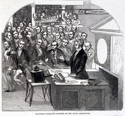 Faraday lecturing at the Royal Institution, London, 23 January 1846.