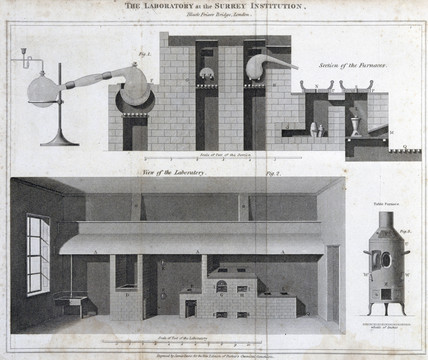 The laboratory at the Surrey Institution, Blackfriars, London, c 1815.