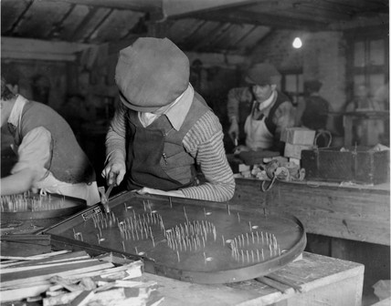 'Making Corinthian Bagatelle Boards at their Hoxton factory', 1932.