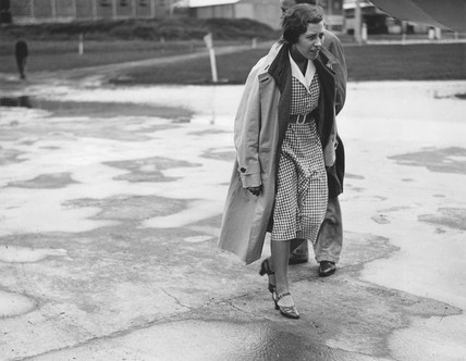 Amy Johnson before her flight to Tokyo, Staghame aerodrome, 29 July 1931.
