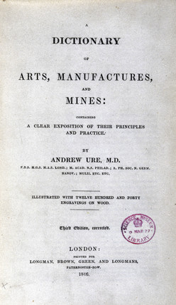 Title page from 'A Dictionary of Arts, Manufactures and Mines', 1846.