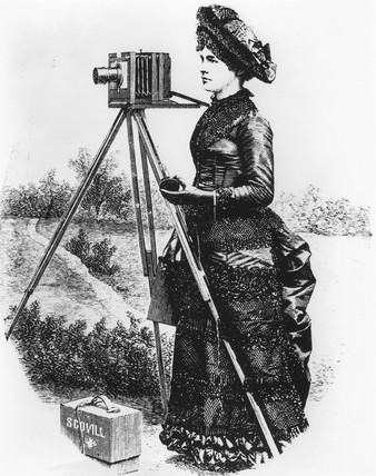 Lady with field camera on location, c 1890.