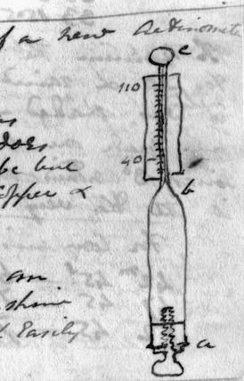 John Herschel's drawing of an actinometer, c 1830s.