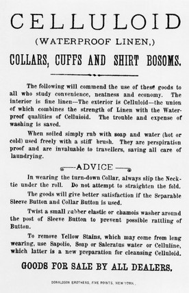 Celluloid waterproof collars, cuffs and shirt bosoms, c 1885.