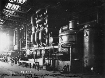 Glycerine still and vacuum pumps at Dornock, near Gretna, Scotland, 1918.