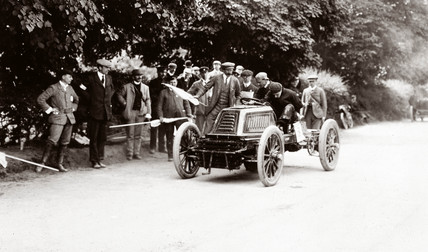 C S Rolls driving his 80 hp Mors Racer at Castewellan Hill Climb, Ireland, 1903.