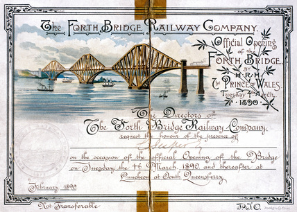 Invitation card for the official opening of the Forth Bridge, 1890.