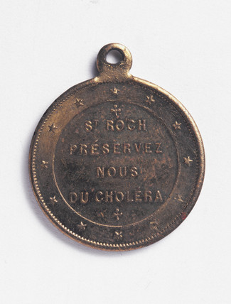 Bras amulet designed to protect against cholera, French, 1820-1880.