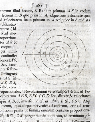 Spiral with intersecting radii, 1687.