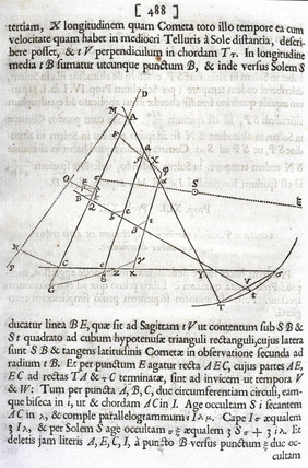 'To determine the trajectory of a comet moving in a parabola...', 1687.