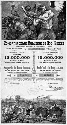 Coal mining company share certificate, Spanish, 1906.