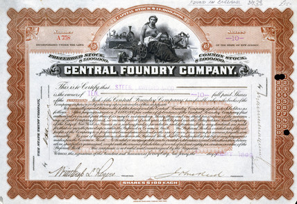 Central Foundry share certificate, Brazil, 1 September 1899.