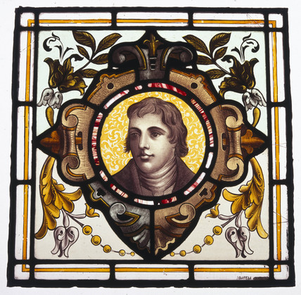 Stained glas portrait of Edward Jenner, c 1880s.