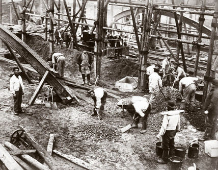 Constructing the Metropolitan Line, London, c 1860s.
