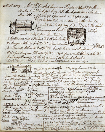 Sketch of boiler of the 'Rocket' from Rastrick's notebook, 1829.