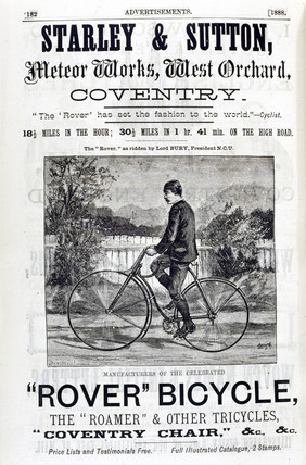 Advertisement for the 'Rover' safety bicycle, 1888.