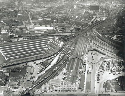 aerial view of Bristol Temple Meads Station, 25 March 1936.