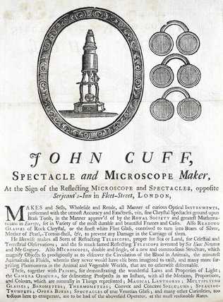 Advertisement for John Cuff, spectacle and microscope maker, 1743.