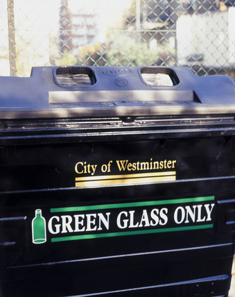 Green glas recycling bin, 1999.