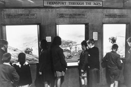 Children viewing transport diorama, Science Museum, 1949.