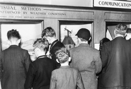 Children looking at displays, Science Museum, London, 1954.