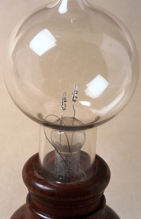 Early Edison carbon filament lamp, 1897.
