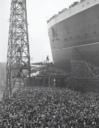 The launch of the Queen Elizabeth in Clydebank, 27 September 1938.