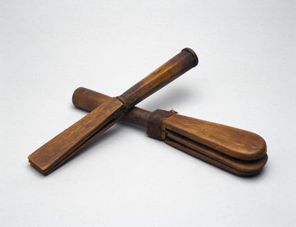 Wooden leper clapper, English, c 17th century.