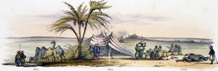 'Milk, Tents, Food', c 1845.
