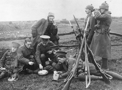 British soldiers playing cards and smoking
