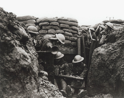 Lancashire Fusiliers in a front line trench, France, January 1917.