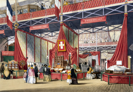 Swis stand at the Great Exhibition, Crystal Palace, London, 1851.
