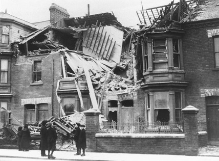 Bomb damage, West Hartlepool, World War One, 1914-1918.