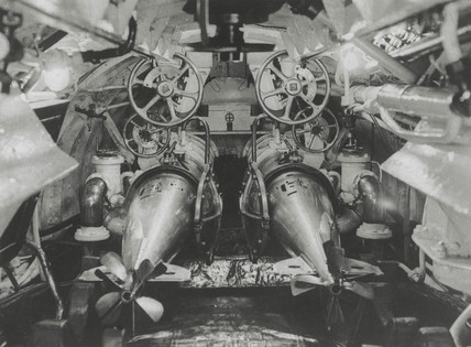 Torpedo tubes in the interior of a British submarine, 1914-1918.