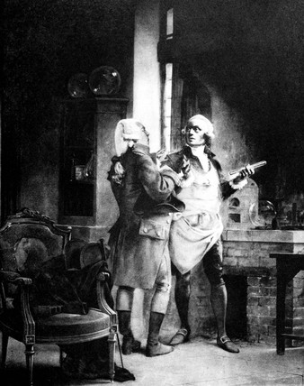 Antoine Lavoisier with Claude Louis Berthollet, French chemists, c 1780s.