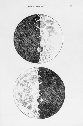 Galileo's moon drawings, 1610. Drawings fro