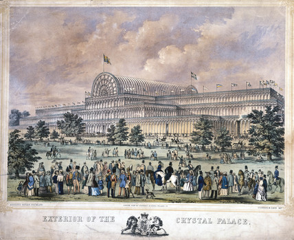 'Exterior of the Crystal Palace from Kensington Gardens', 1851.