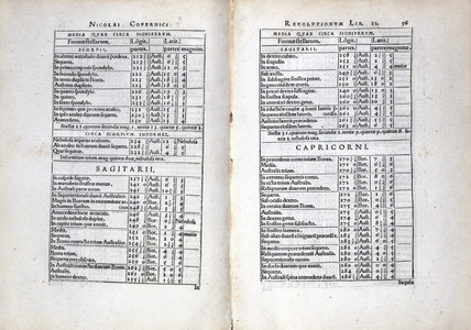 Copernicus' astronomical observation tables, 1543.