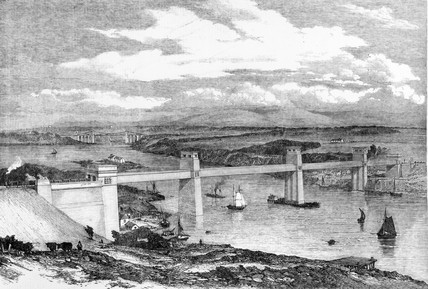 The Britannia Tubular Bridge, Wales, c 1850.