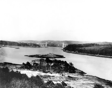 Suspension Bridge crosing Menai Straits, Wales, c 1898.