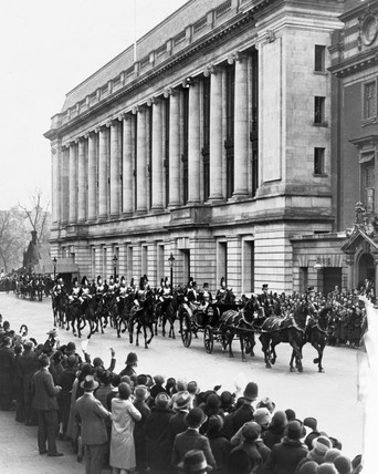 King George V leaving the Science Museum, London, 1928.