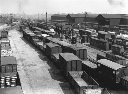 Exterior yard of Bishopsgate Goods Depot, London, 1924.