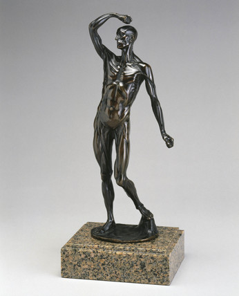 Bronze male anatomical figure on a marble stand, 1750-1800.