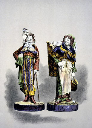 Two Palisy ware figures, 1876.