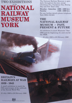 Exhibitions at the National Railway Museum', poster, 1989-1990.