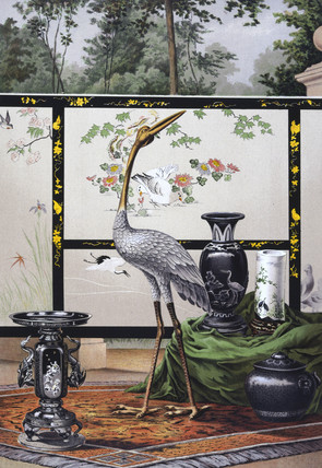 Embroidered screen with bronze and porcelain items, Japanese, 1876.