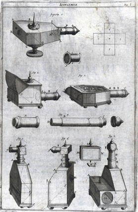 Designs of portable camera obscuras, c 1685-1686.