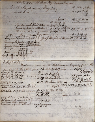 Details of the 'Rocket' from Rastrick's notebook, Rainhill Trials, 1829.