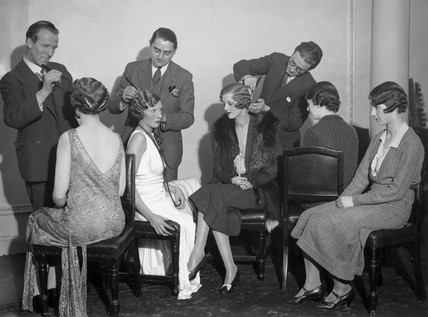Hairdresers styling women's hair at Frascati's restaurant, 5 November 1931.